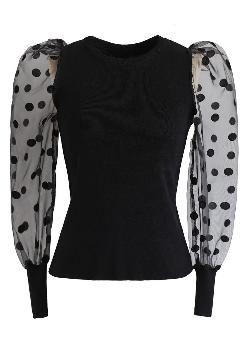 Polka Dots Mesh Sleeves Knit Top in Black