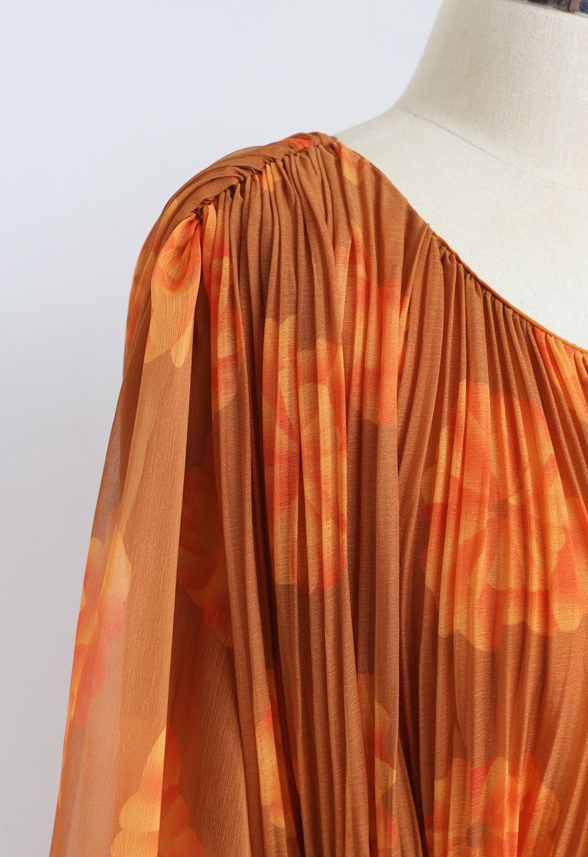 Floral Sheer Sleeves Pleated Chiffon Dress in Orange
