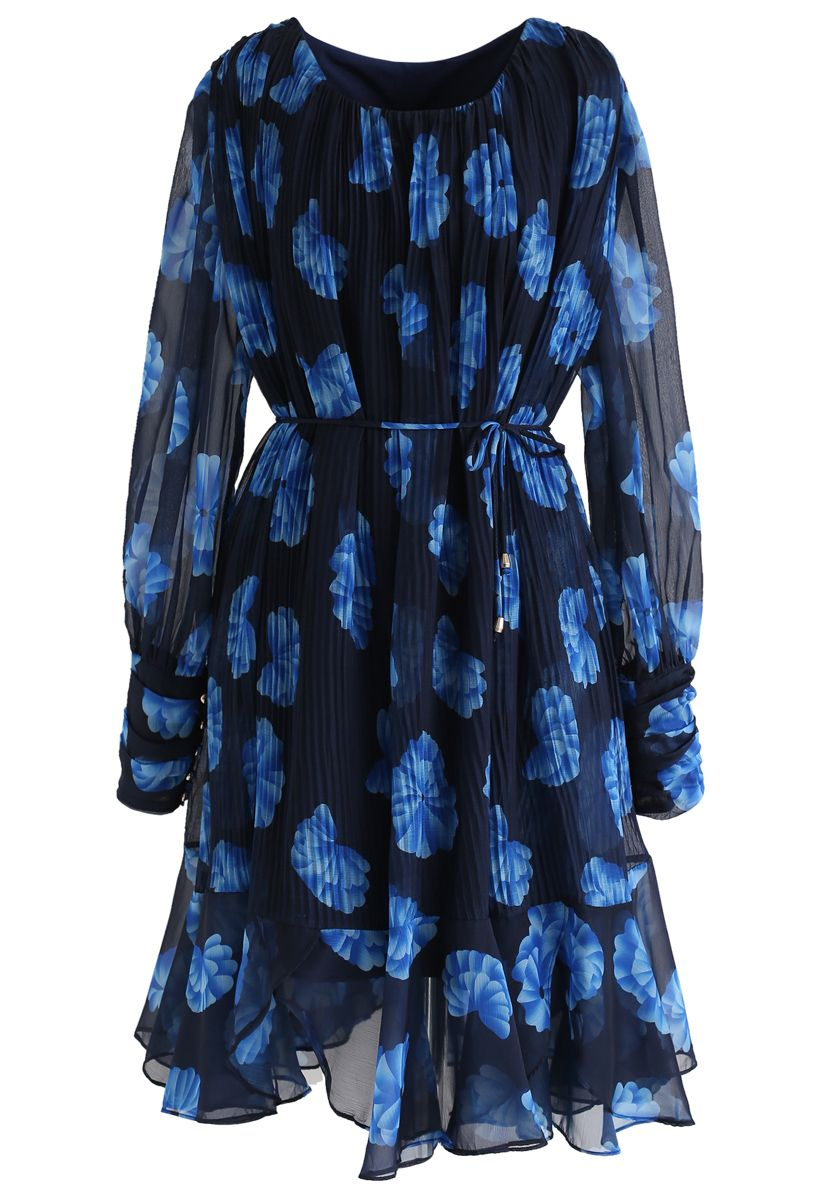 Floral Sheer Sleeves Pleated Chiffon Dress in Blue