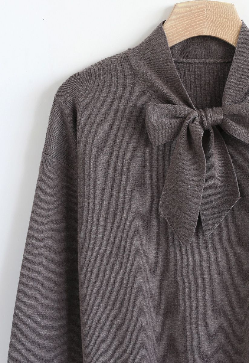 Bow Neck Sleeves Knit Top in Brown