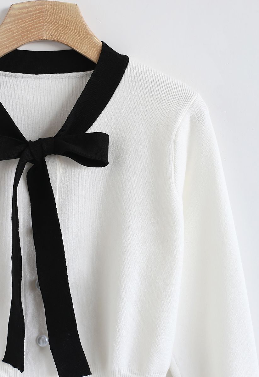 Button Down Bowknot Knit Sweater in White
