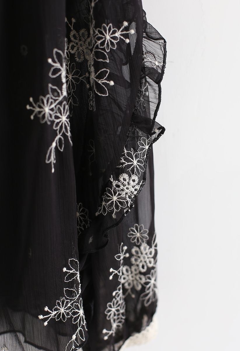 Eyelet Floral Embroidered Semi-Sheer Top in Black