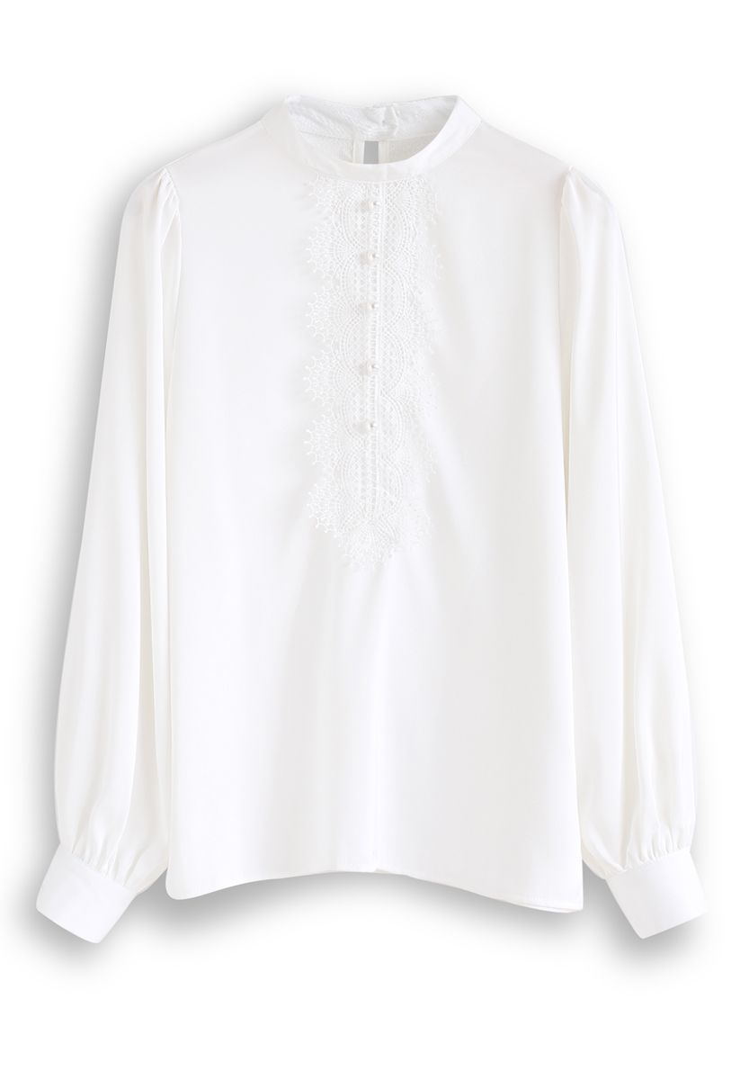 Pearls Embellished Lace Chiffon Top in White