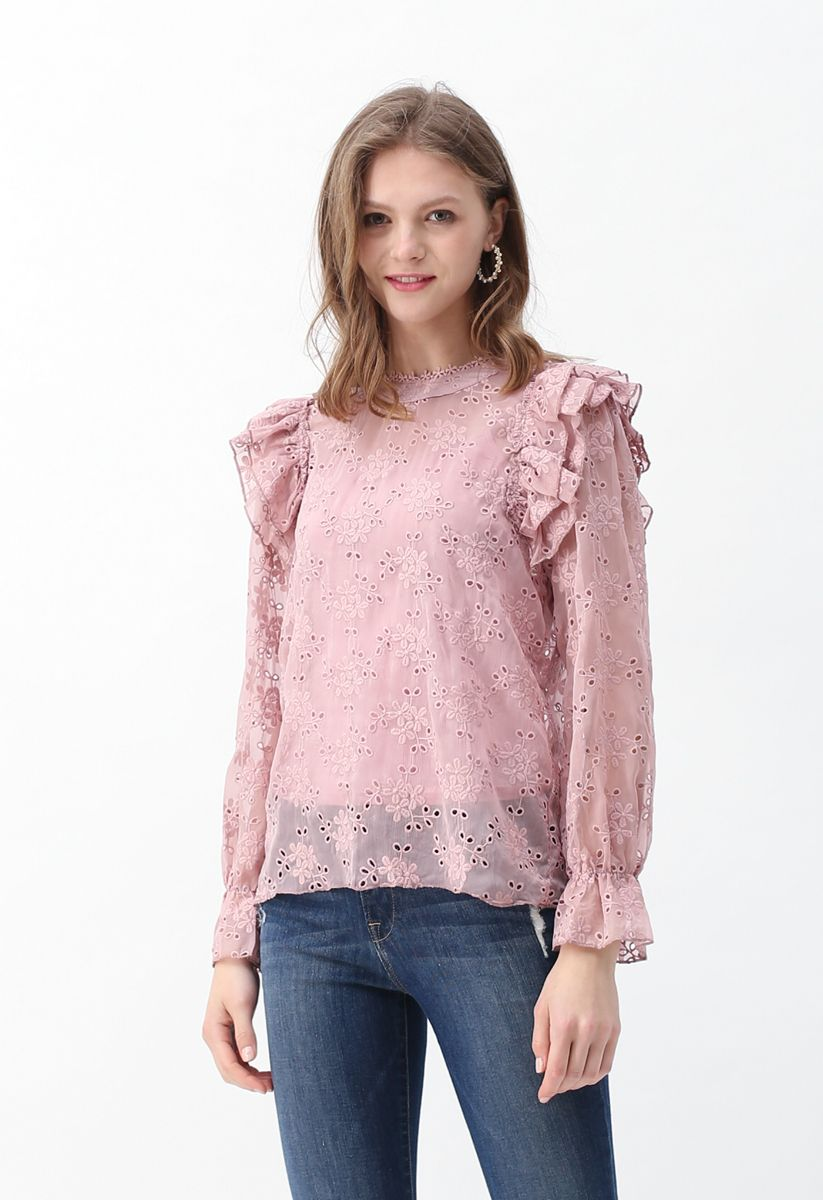 Eyelet Detail Floral Embroidered Ruffle Top in Pink