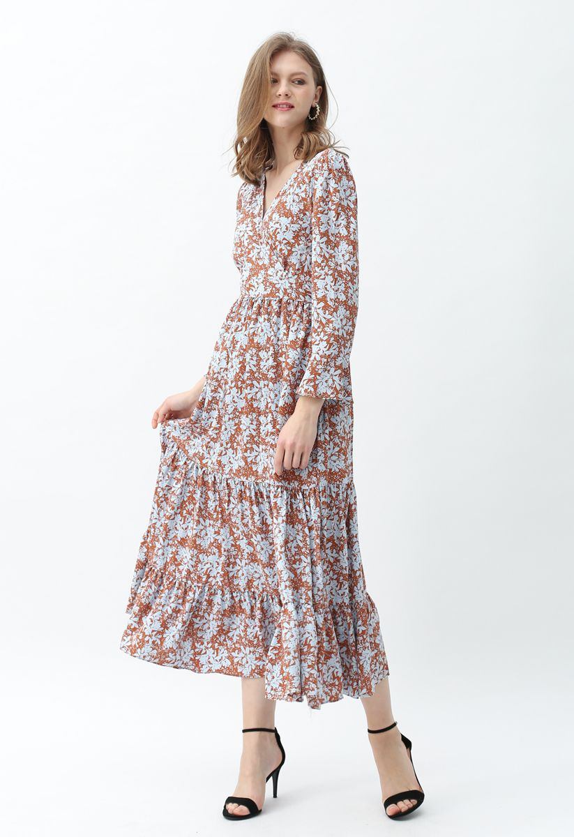 Lily Print Wrap Chiffon Maxi Dress in Caramel
