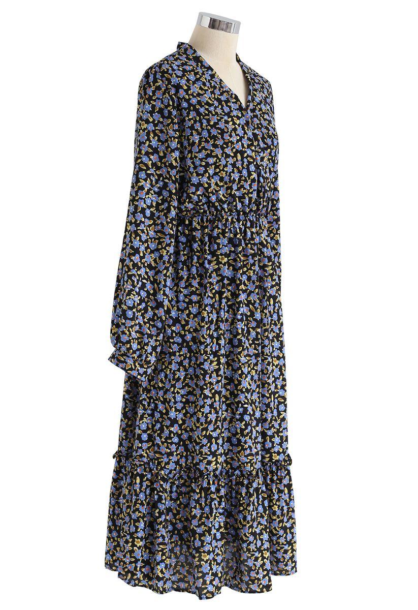 Blue Posy Frill Hem Wrap Dress