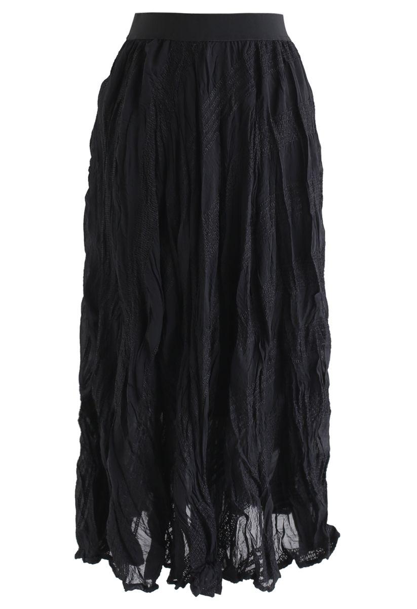 Slanted Embroidered Pleated Midi Skirt in Black