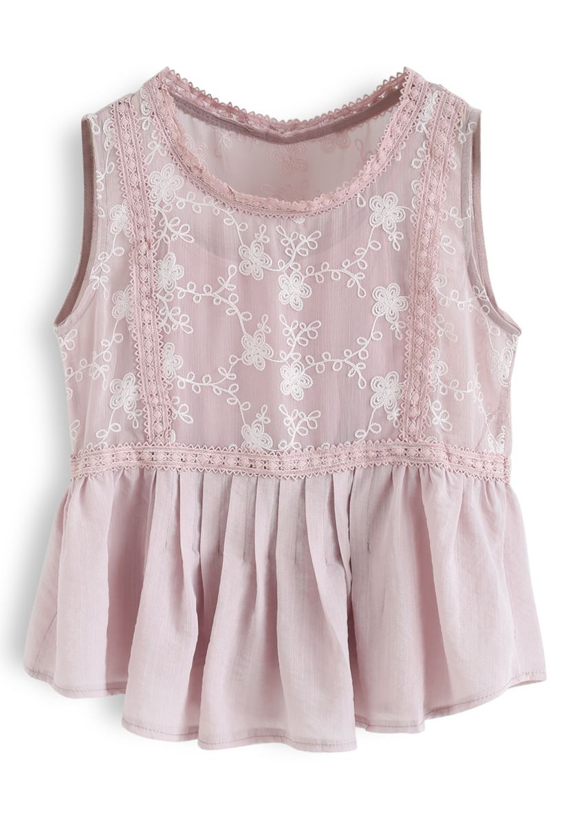 Embroidered Floral Crochet Sleeveless Top in Pink