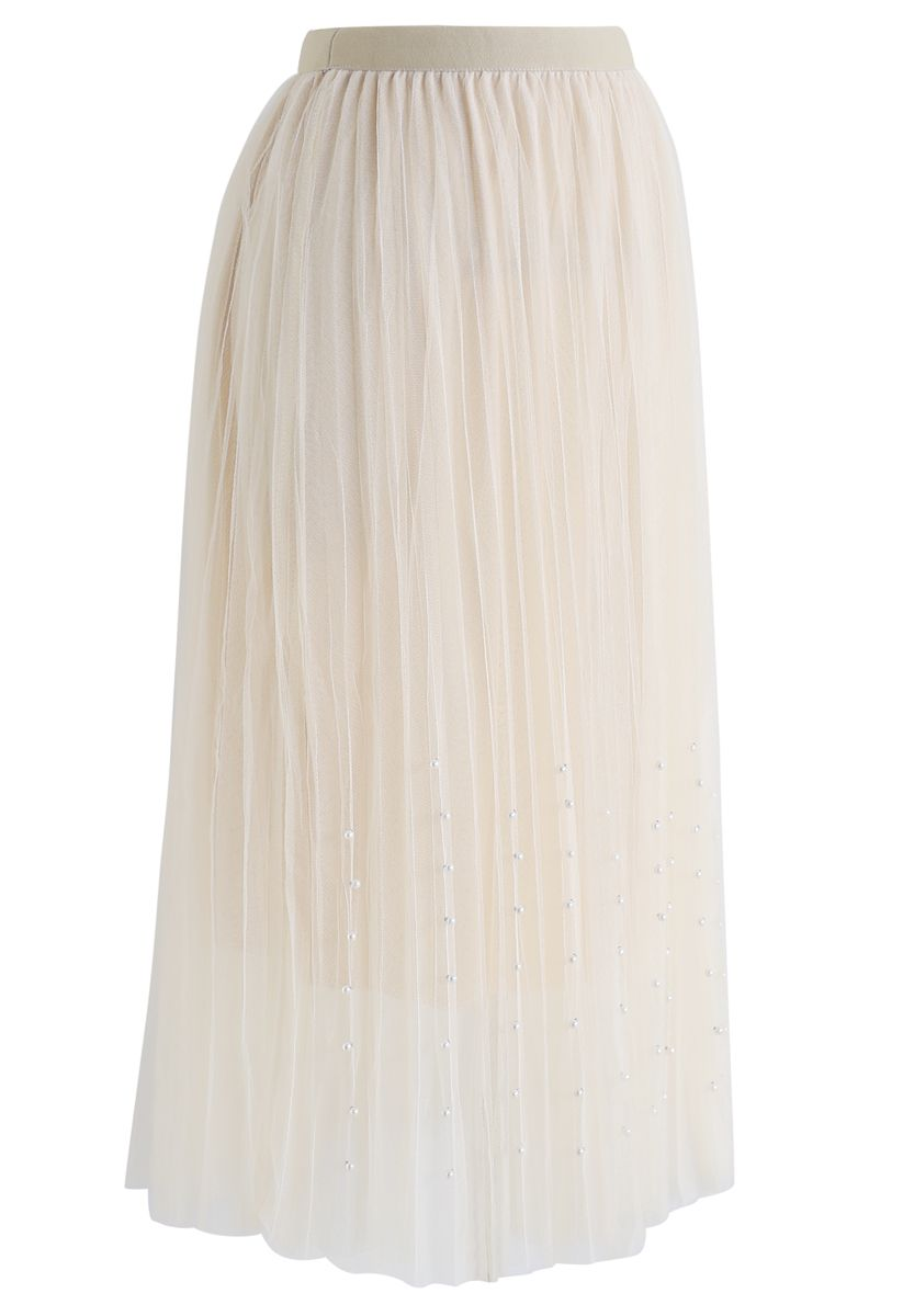 Pleated Double-Layered Mesh Tulle Pearls Skirt in Cream