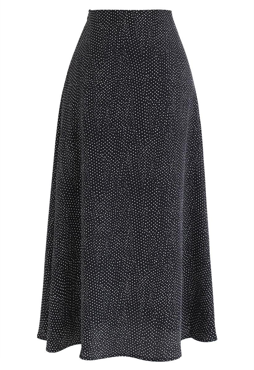 A-Line Polka Dots Chiffon Skirt in Black