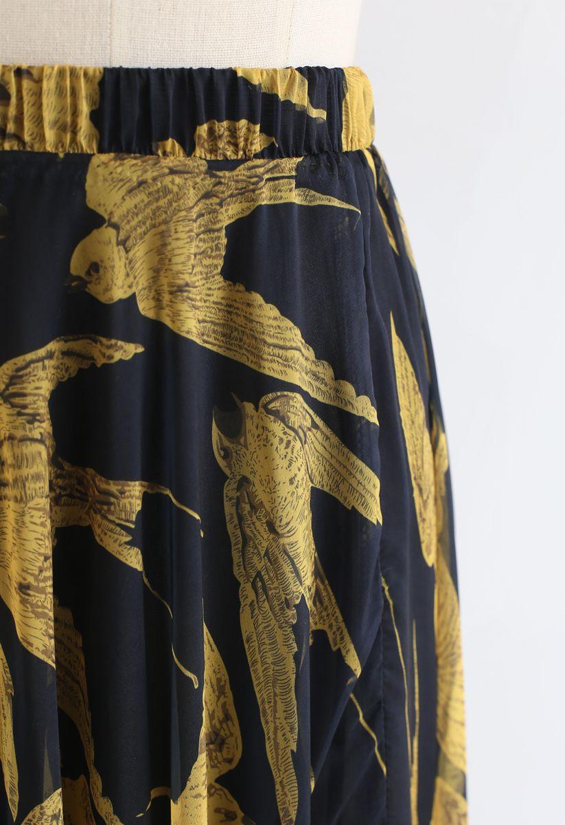 Swallows Print Maxi Skirt