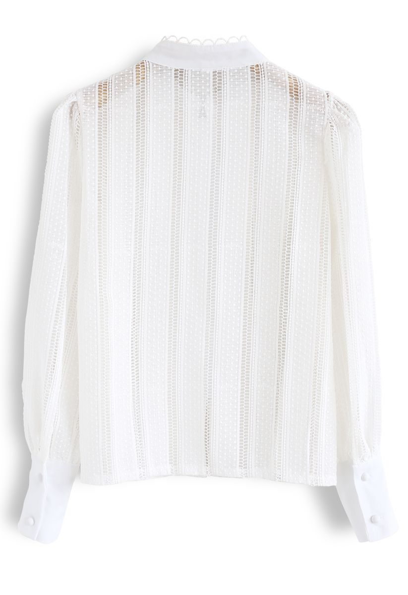 Crochet Eyelet Button Down Top in White