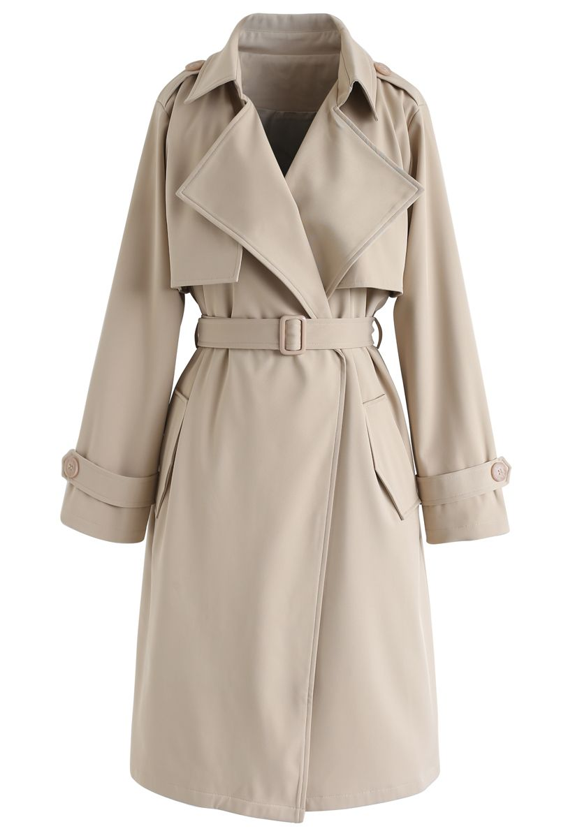 Open Front Pockets Belted Coat in Sand