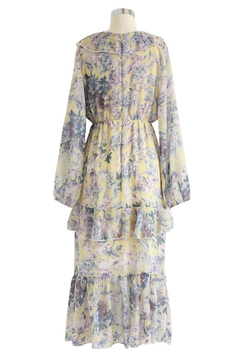 V-Neck Ruffle Floral Midi Dress in Yellow