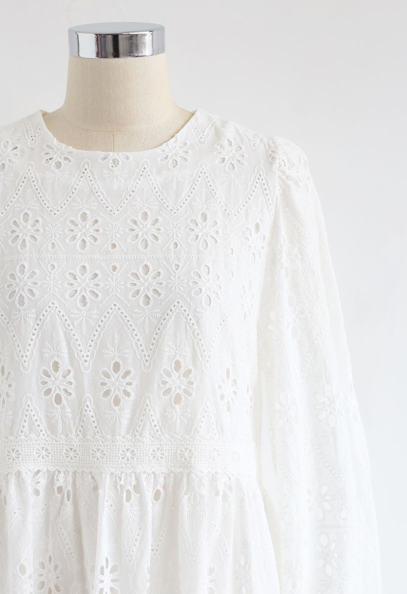 Bell Cuffs Eyelet Embroidered Dress in White