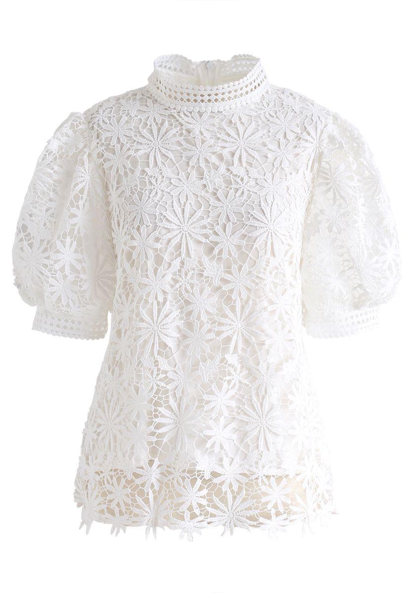 Full of Daisy Crochet Top in White