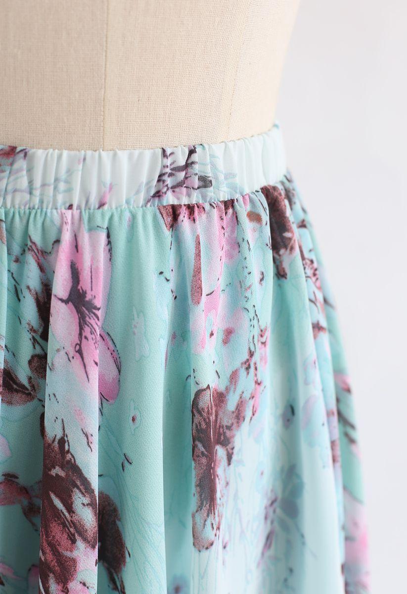 Greenery Watercolor Maxi Skirt
