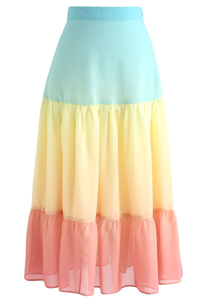 Vacay Paradise Color Blocked Chiffon Skirt