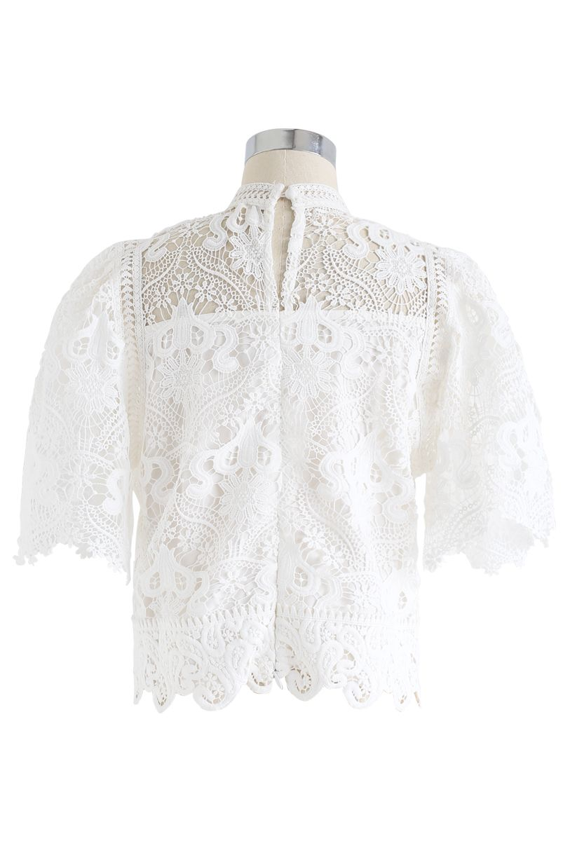 Crochet Bell Sleeves Cropped Top in White