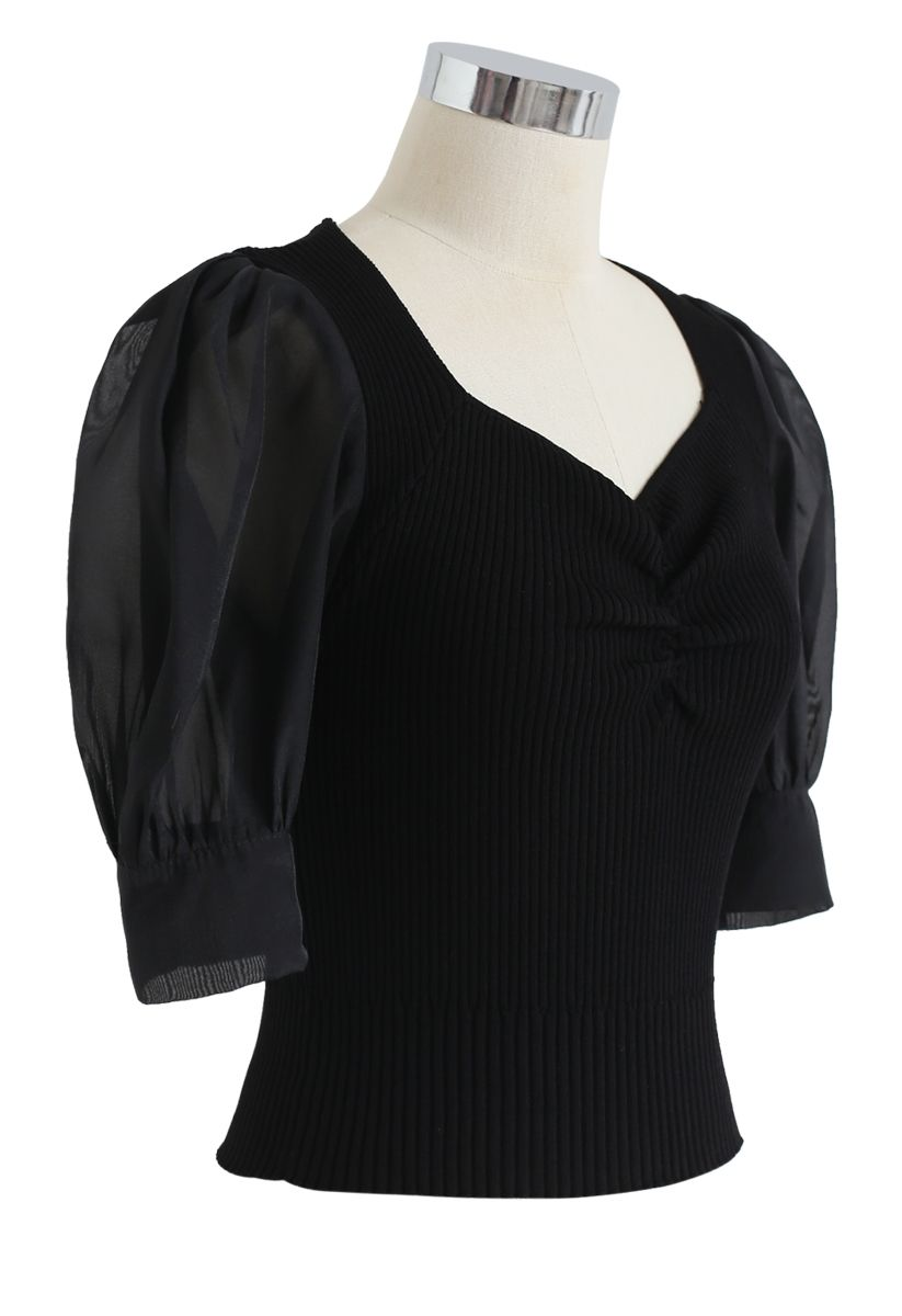 Ruched Bubble Sleeves Cropped Knit Top in Black