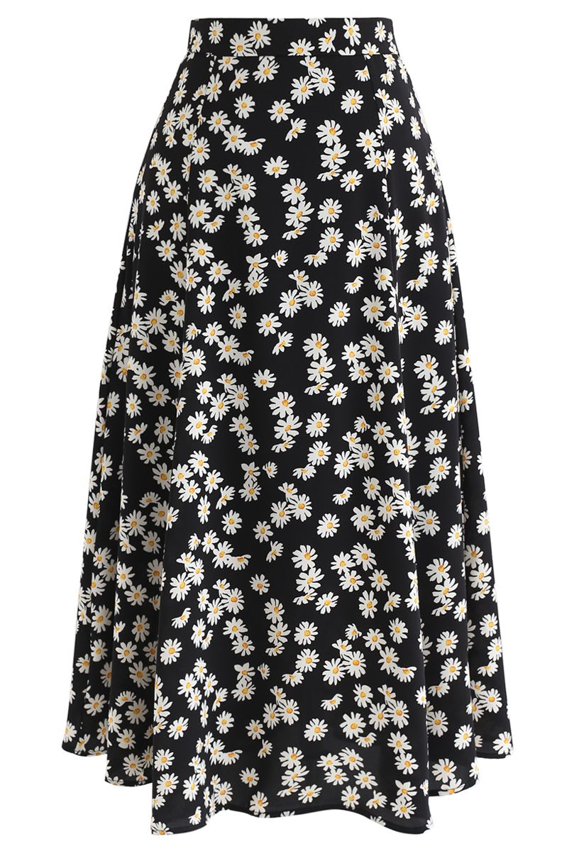 Daisy Printed A-Line Midi Skirt in Black