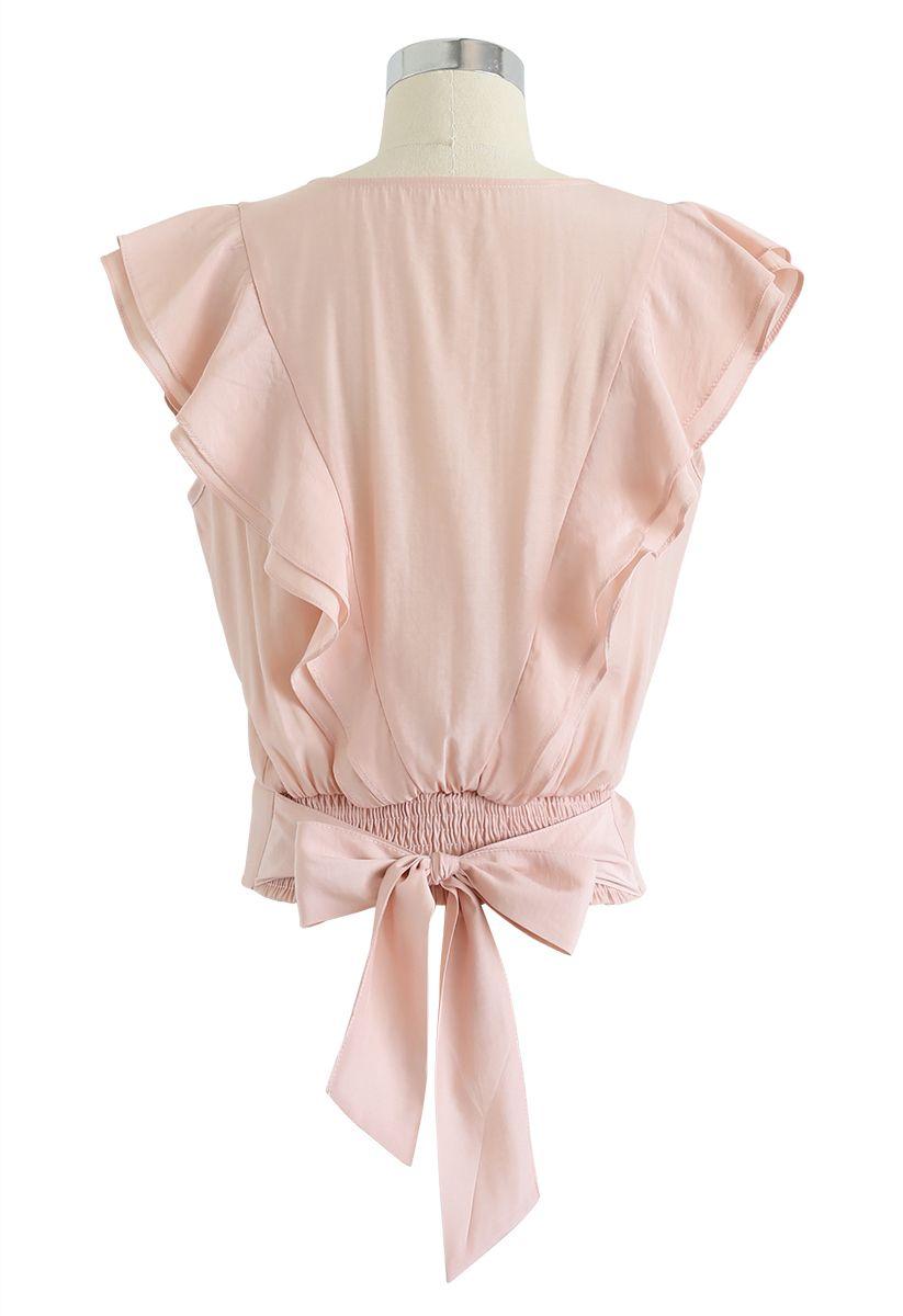 Bowknot Waist Sleeveless Ruffle Top in Peach