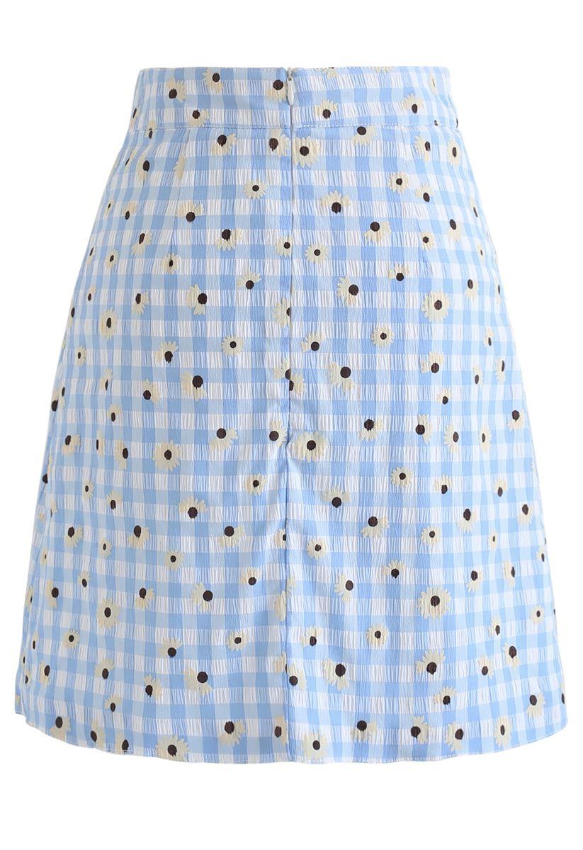 Summer Daisy Printed Gingham Bud Skirt in Blue