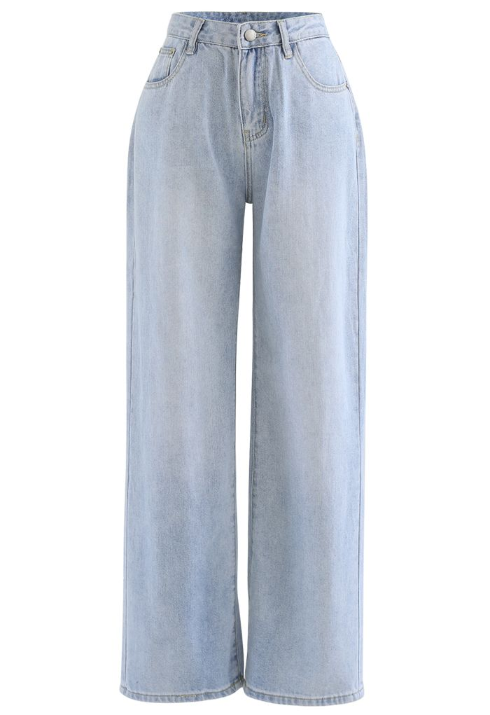 Light Blue Wide-Leg Jeans