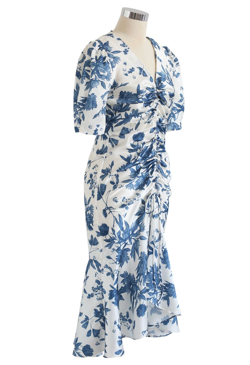 Flounced Hem Drawstring Floral Dress in Navy