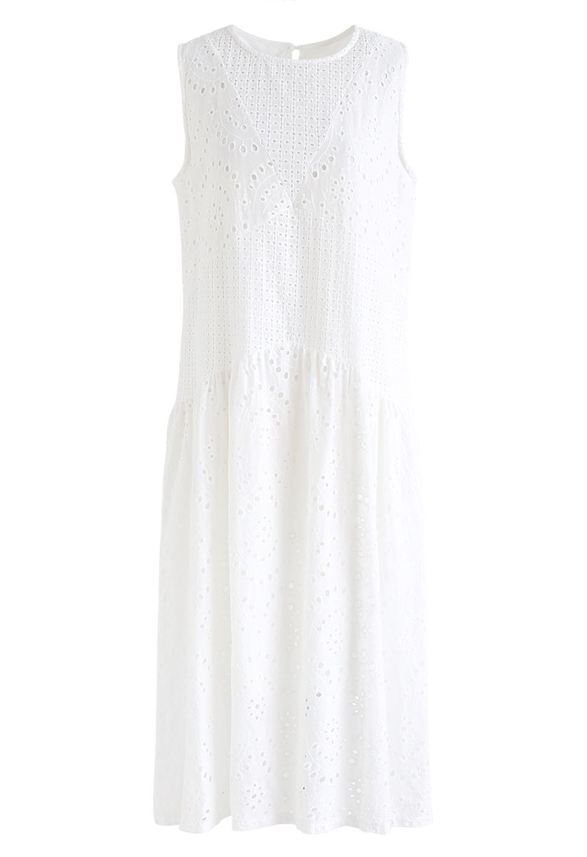 White Perforated Embroidered Sleeveless Dress