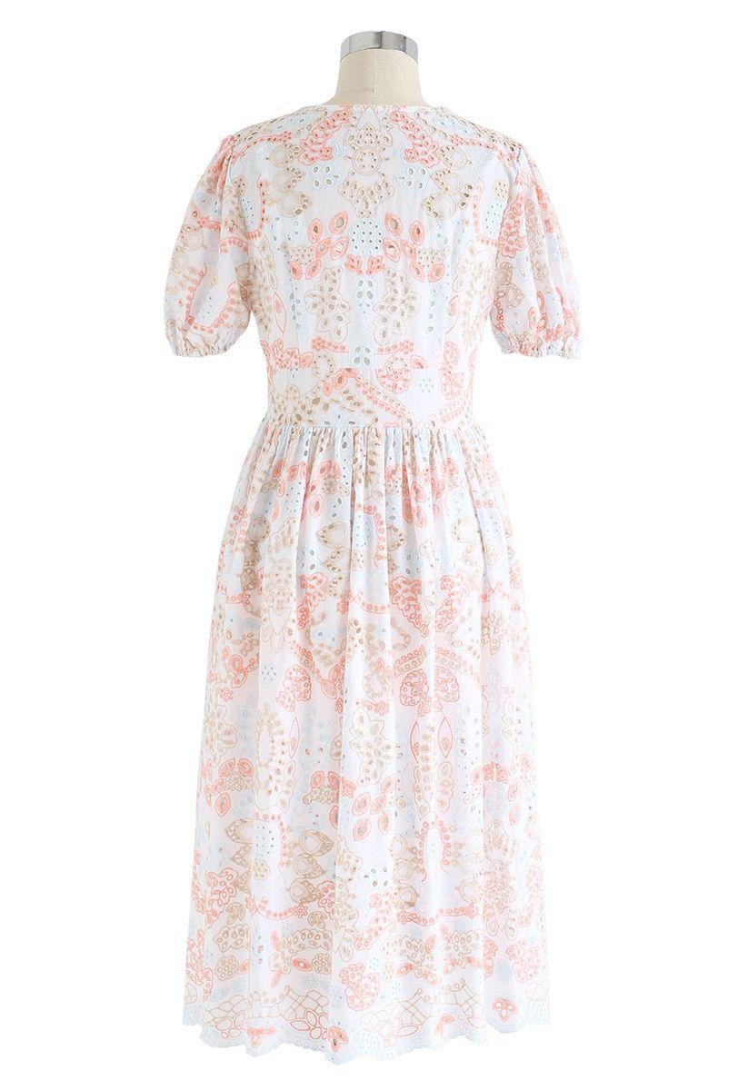 Colorful Embroidery White Midi Dress
