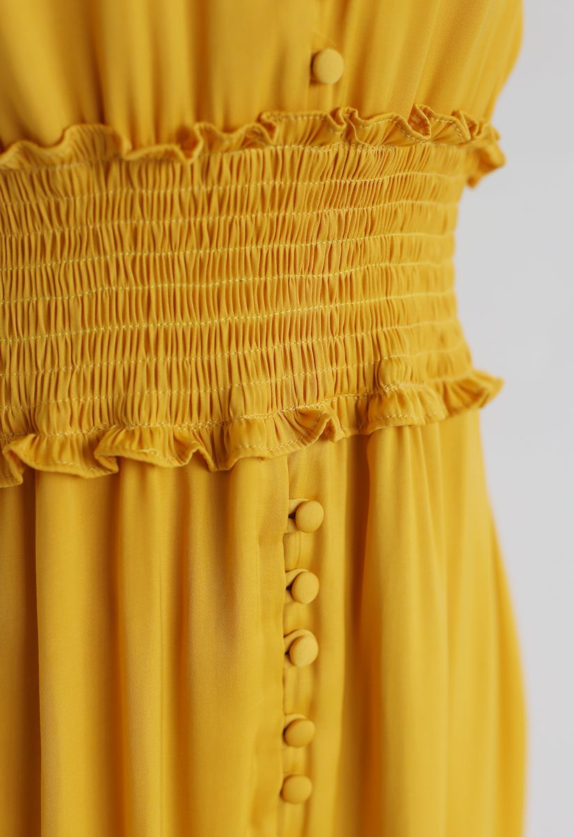 Shirred Button Down Ruffle Dress in Mustard