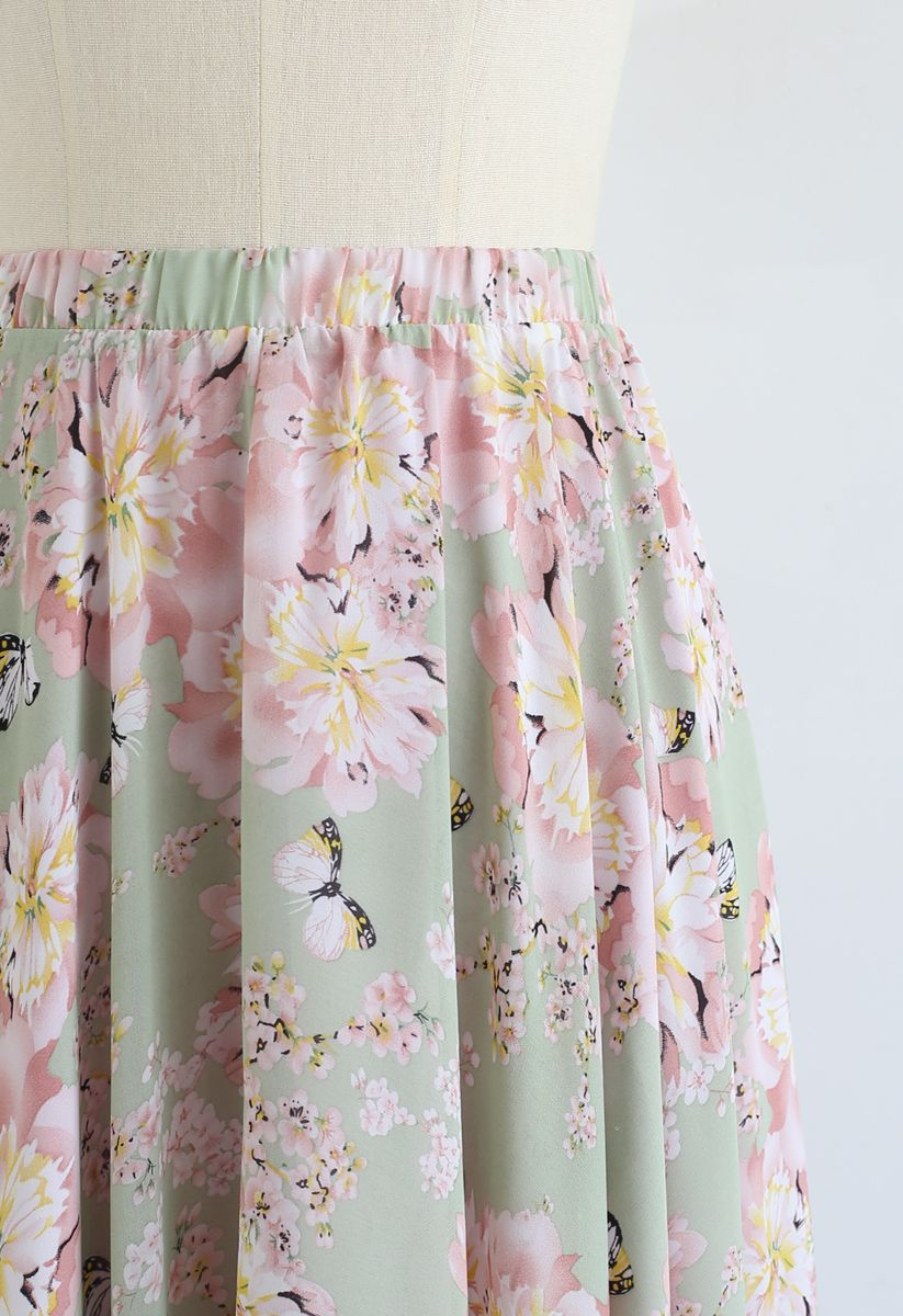 Butterfly and Floral Print Chiffon Maxi Skirt in Pistachio