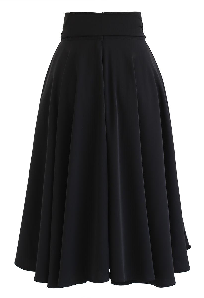 Flare Hem Bowknot Waist Midi Skirt in Black