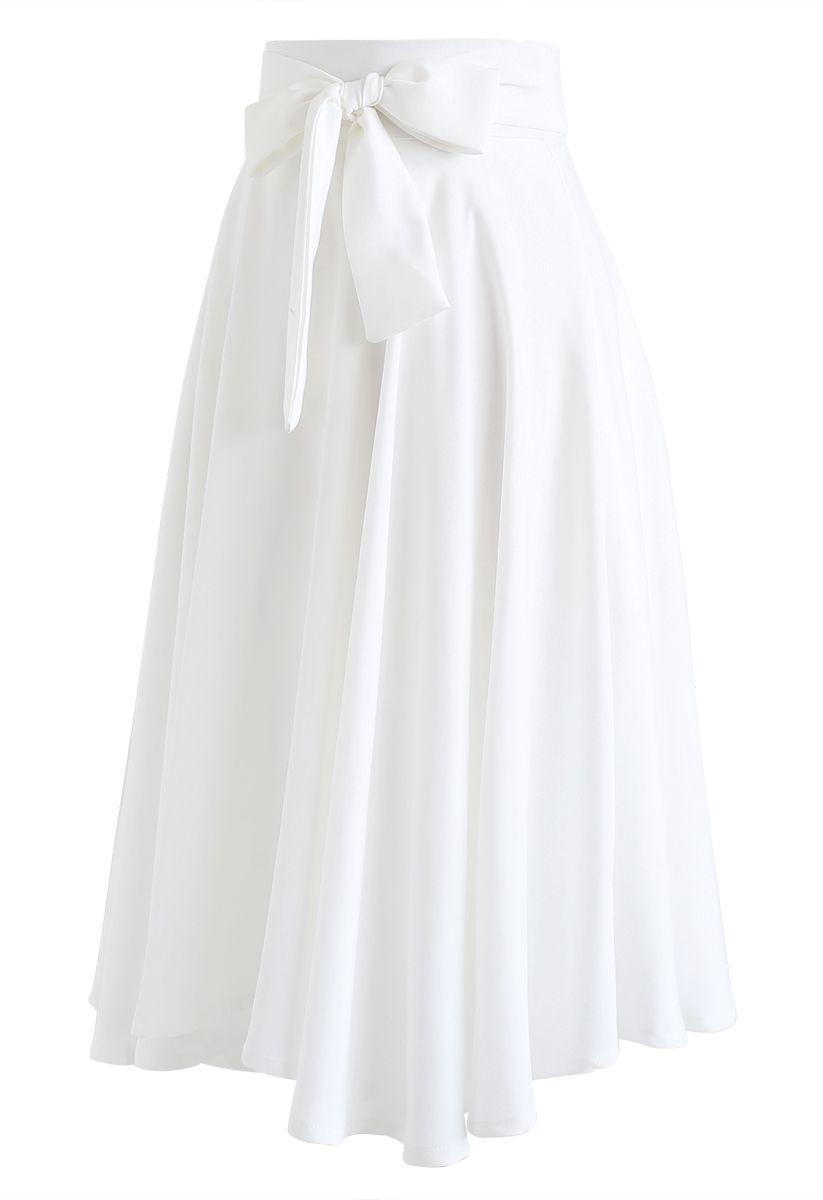 Flare Hem Bowknot Waist Midi Skirt in White