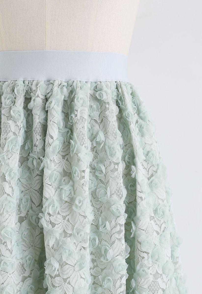 3D Roses Full Lace Midi Skirt in Mint