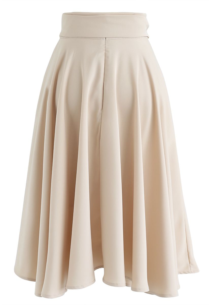 Flare Hem Bowknot Waist Midi Skirt in Light Tan