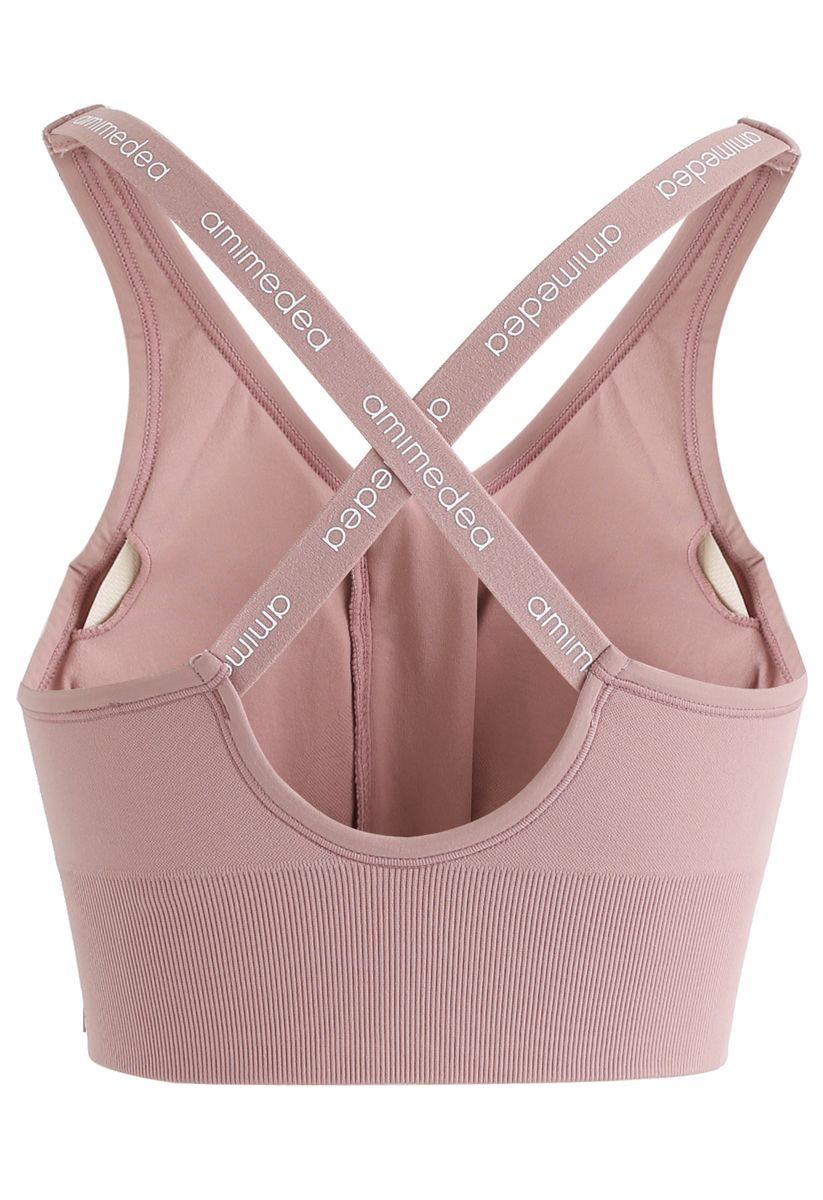 Zipper Front Crisscross Sports Bra in Pink