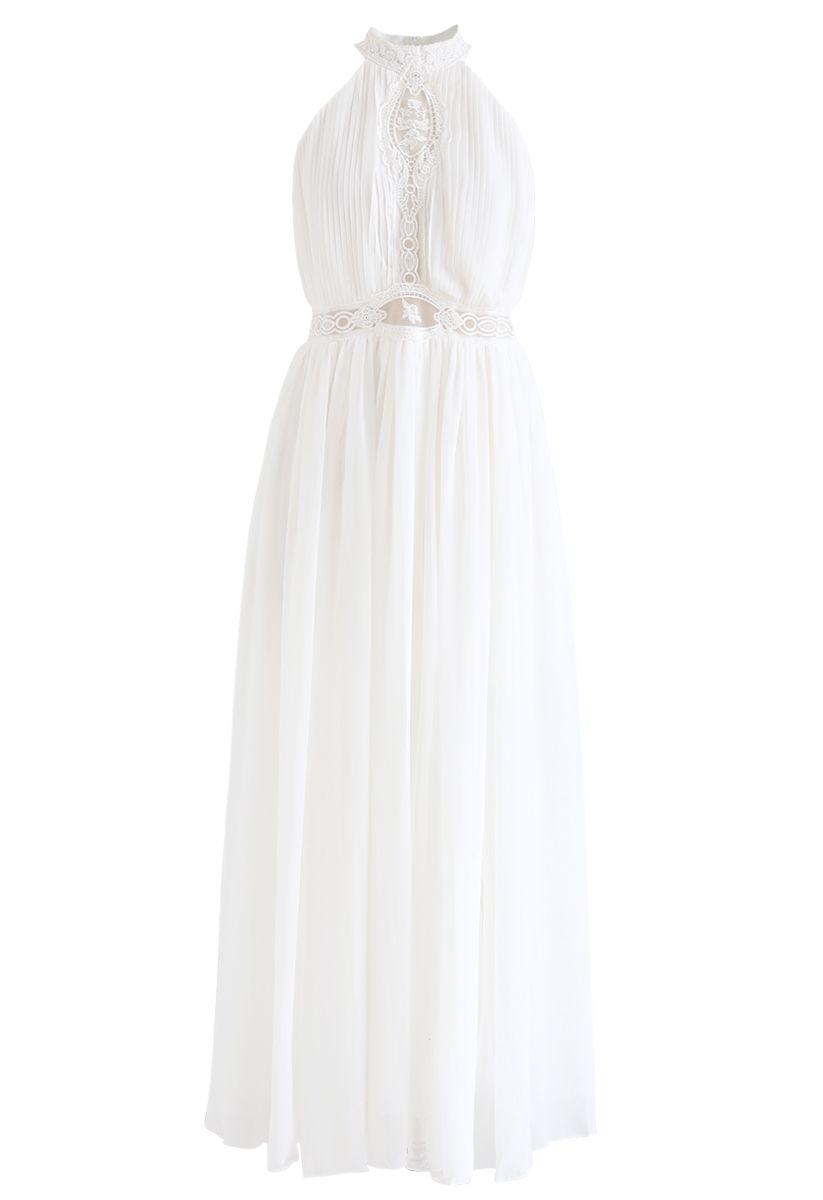 Embroidered Mesh Split Chiffon Halter Dress in White