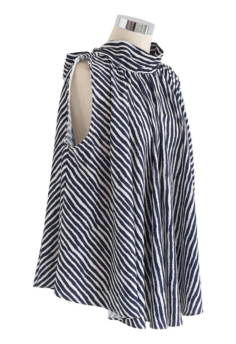 Navy Stripes Bow-Neck Sleeveless Top