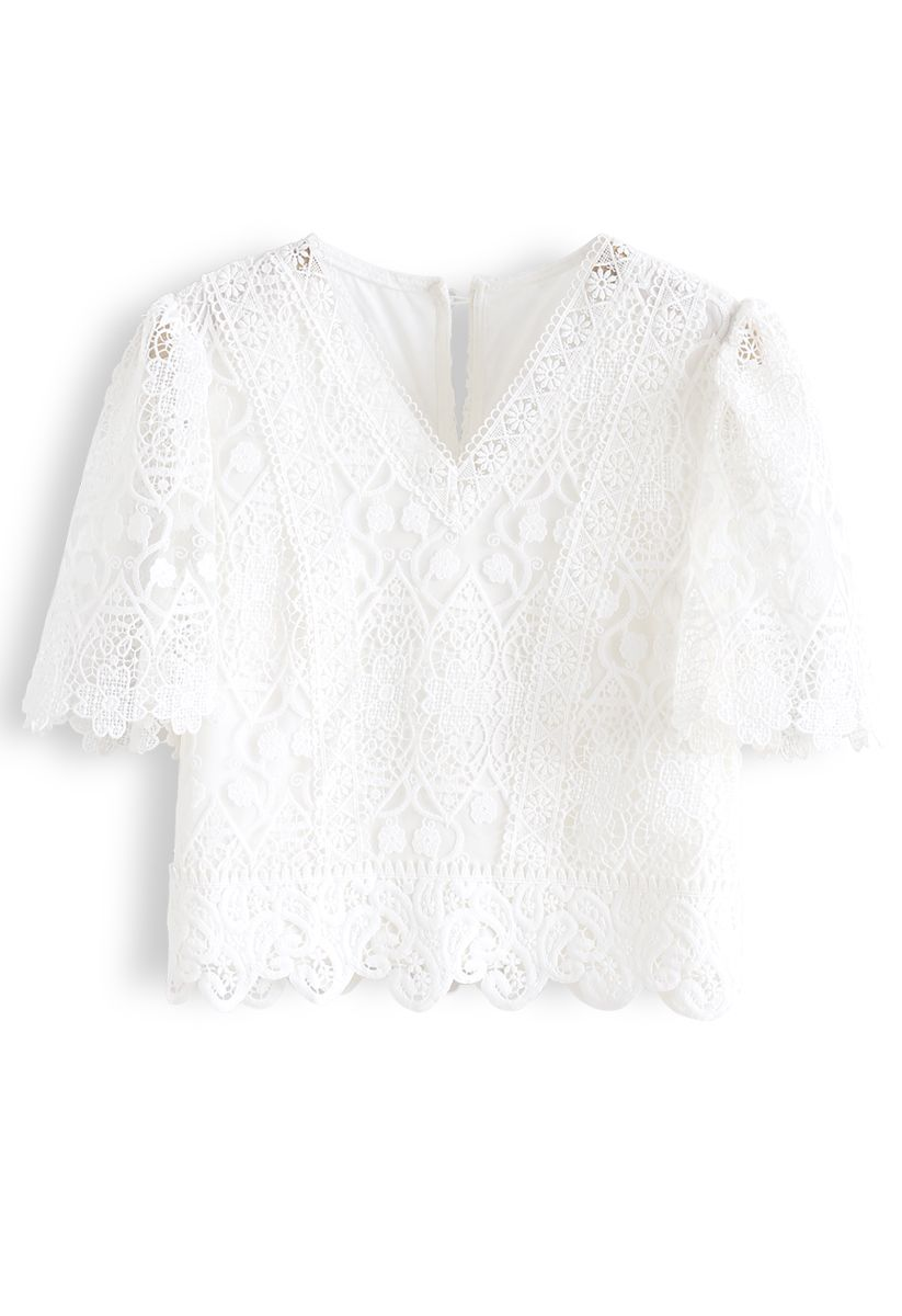 V-Neck Crochet Mesh Cropped Top in White