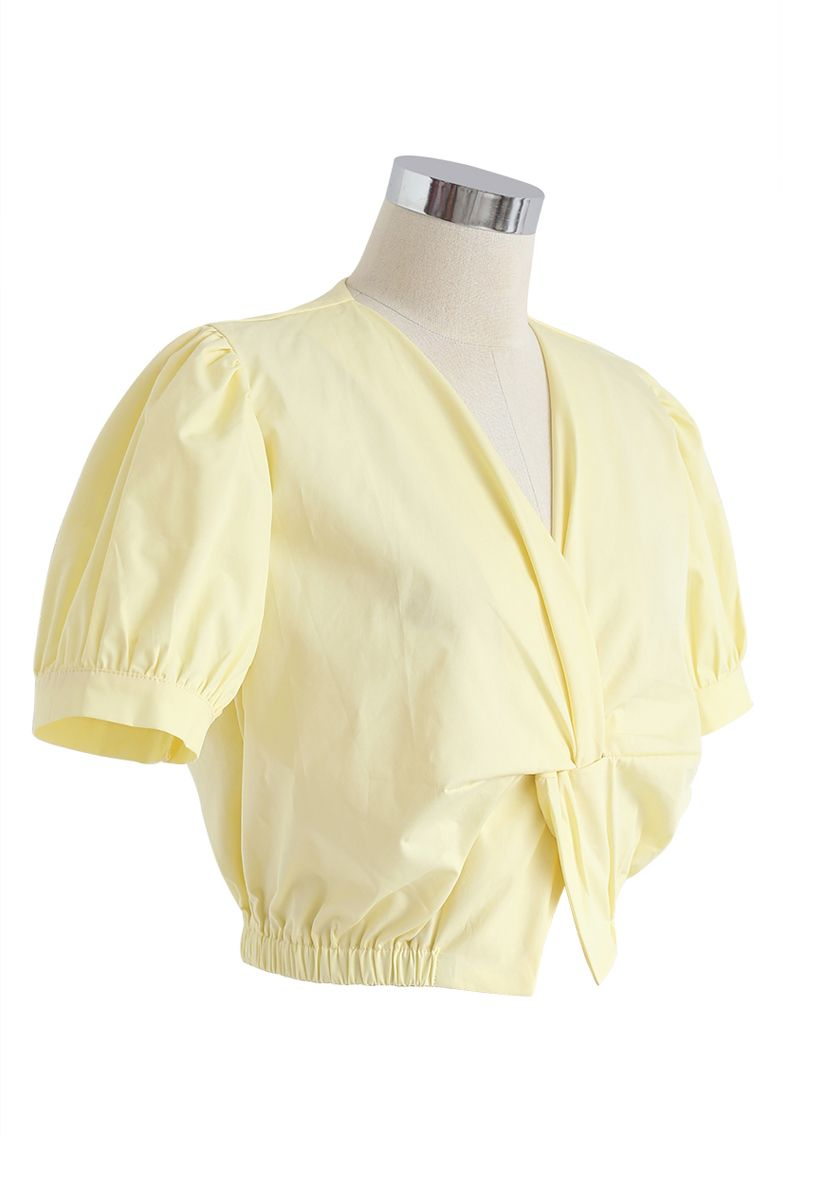 Twist Front V-Neck Cropped Top in Yellow
