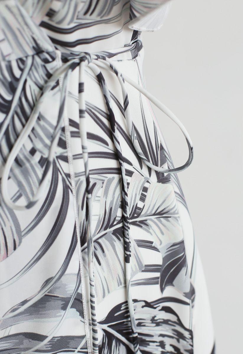 Jungle Leaf Pattern Ruffle Asymmetric Wrap Dress