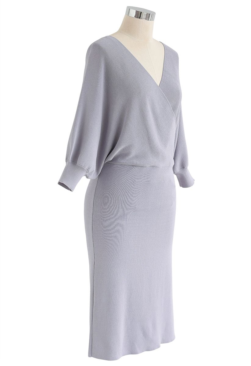 Batwing Sleeves Wrapped Knit Midi Dress in Lavender