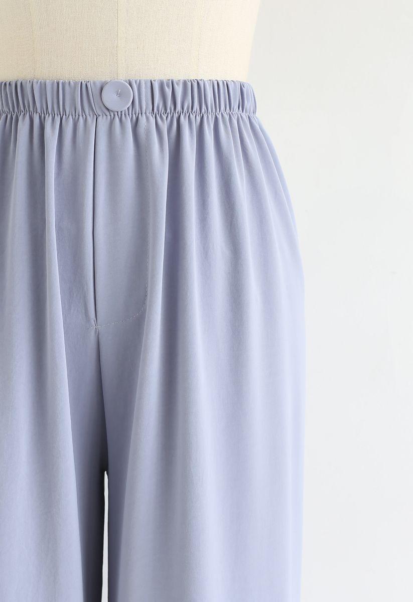 Sleek Wide-Leg Buttoned Crop Pants in Baby Blue