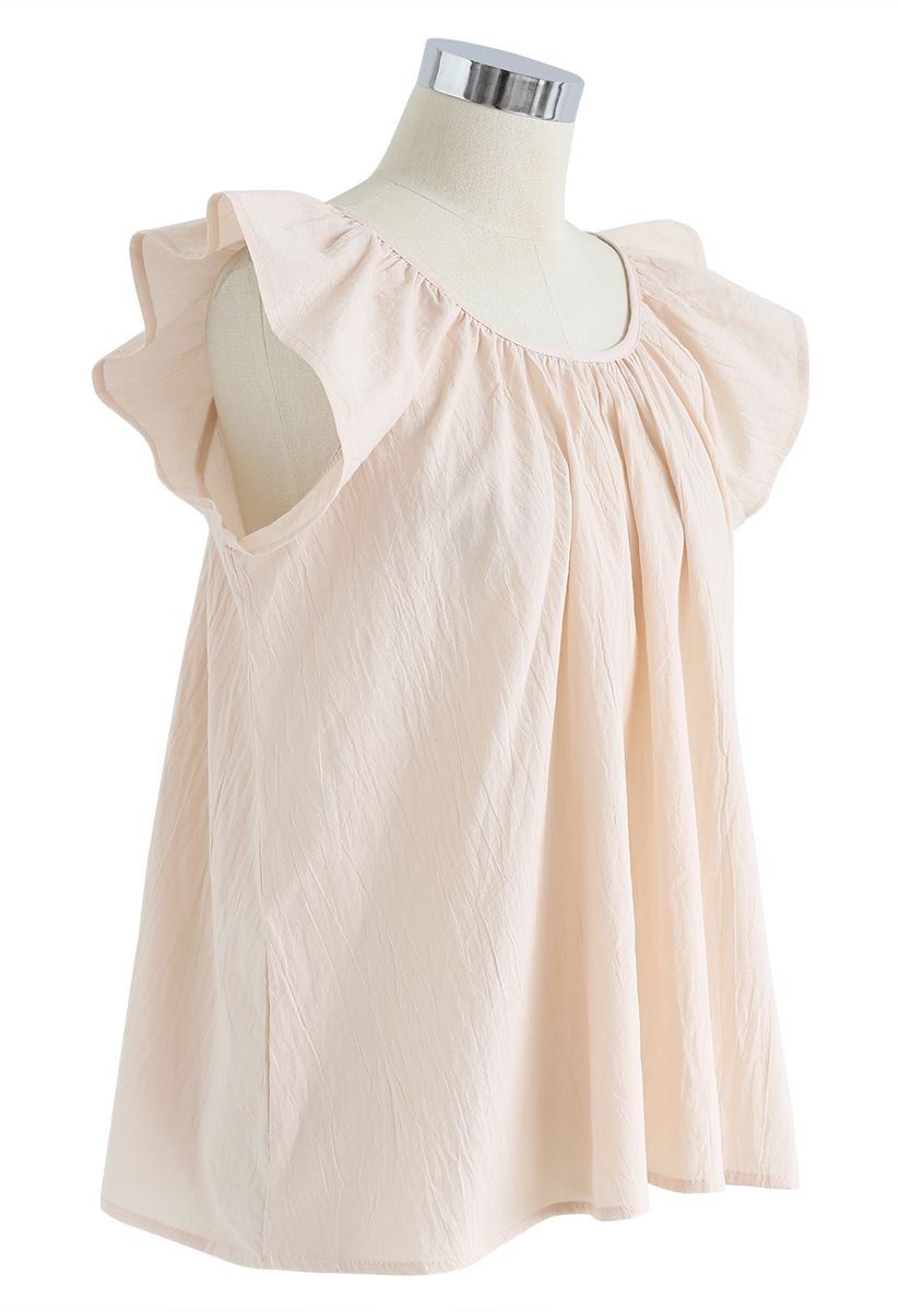 Scoop Neck Ruffle Sleeveless Top in Apricot