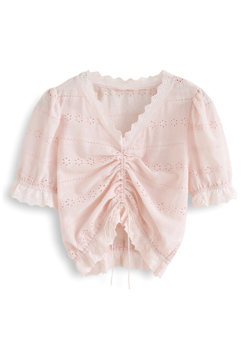 Drawstring Front Floral Embroidered Eyelet Crop Top in Light Pink