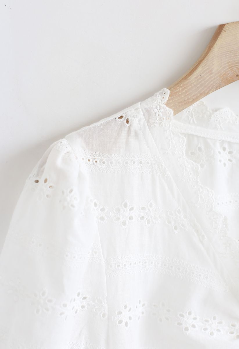 Drawstring Front Floral Embroidered Eyelet Crop Top in White