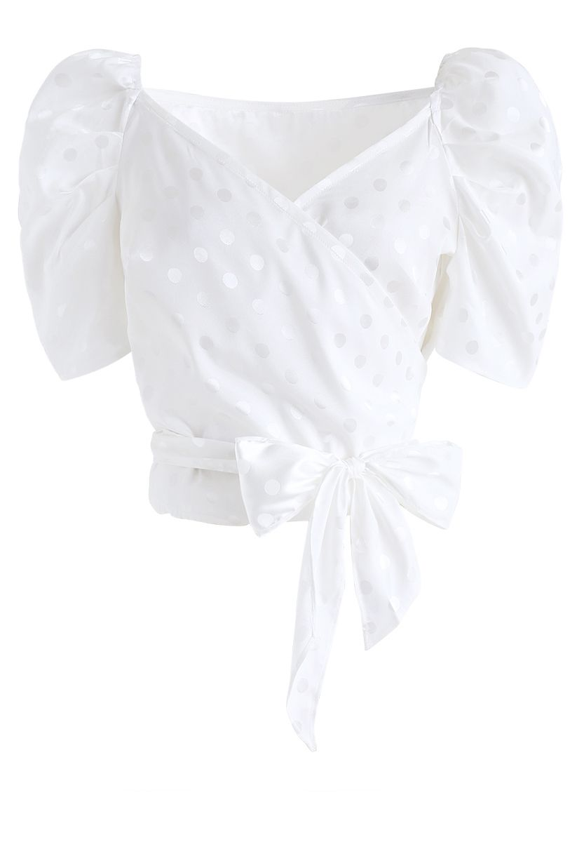 Wrapped Front Puff Sleeves Dots Crop Top in White