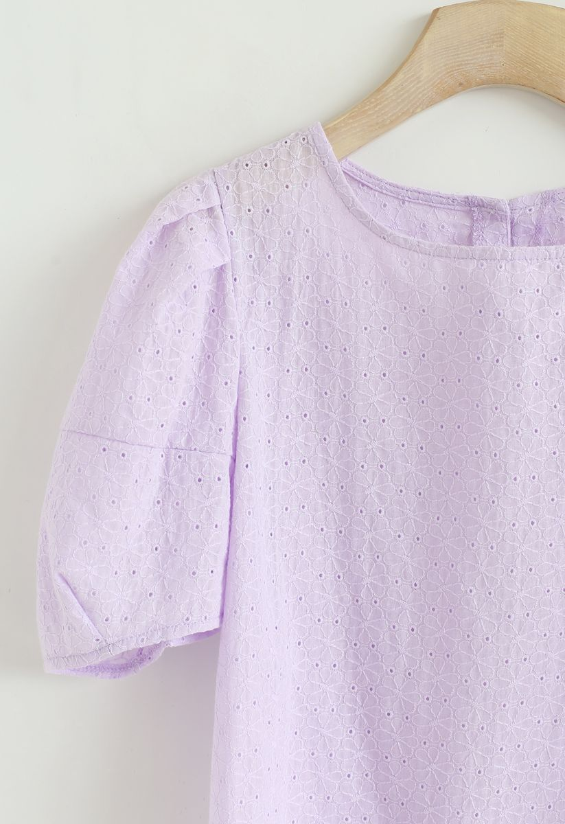 Puff Sleeves Floral Embroidered Eyelet Top in Purple